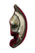 brooch: fabrics, ramshorn selenite, shell, glass beads