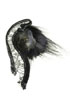 brooch: fabrics, shell, fur, silver netting, glass beads