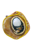 ring: fabrics, agate, shell, snail's shell, glass beads