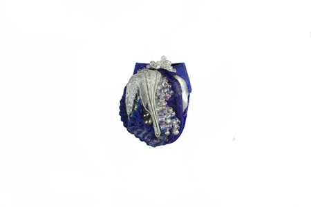 ring: fabrics, slate, voile, glass beads
